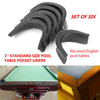 6Pcs Set Black Pool Table Rubber Valley Pocket Liners Billiards Replacement