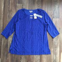 JM Collection Lace Overlay Keyhole Metallic Detail Blue Tunic Women XL 3X