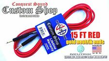 15ft RED Instrument Cable  Conquest Sound Neutrik  gold plugs Made in USA