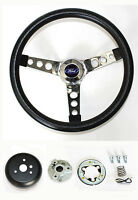 New! Ranchero Bronco F100 F250 Steering wheel Black and chrome 13 1/2""