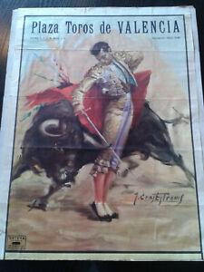 Ancienne Affiche Corrida PLAZA TOROS de VALENCIA - Edition Ortega - 37 x 50.5 cm