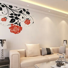 Grande Flor Rosas Pared Pegatinas de pared calcomanías de pared gráficos Vides Hojas Rosa UK