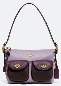New Coach Cargo Legacy Flap Purple Colorblock Nylon Shoulder Bag Purse Tote