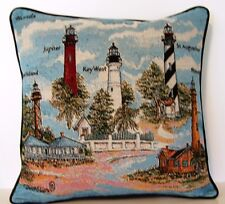 Lighthouses- Five Florida Lighthouses, By Donna Ellis Tapestry Pillow New