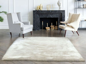 Lambzy FAUX  Square Sheepskin,Silky Shaggy Rug,Soft Touch Fur -WHITE color