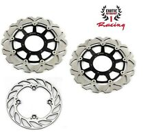 Front & Rear Brake Disc Rotors For Honda CBR 600 RR 2003-2016 Wave Rotors black