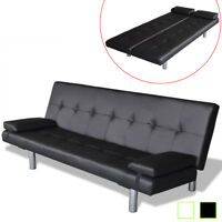 vidaXL Sofa Bed w/ 2 Pillows Artificial Leather Adjustable Black/Cream white