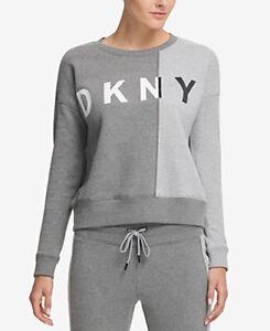 DKNY Sport Colorblock Fleece Top; Grey/White (Large)