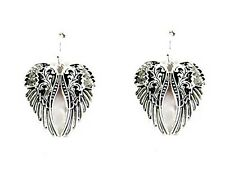 "1.5"" Long Silver Tone Angel Wings w Clear Rhinestones Dangling Earrings"