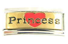 Princess Gold Tone Superlink 9mm Italian Charm Modular Stainless Steel Link