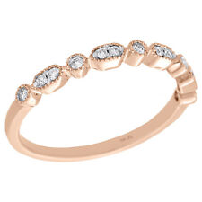 Milgrain Stackable Right Hand Ring 1/8 Ct 10K Rose Gold Prong Set Round Diamond