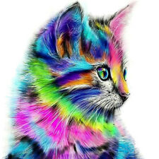 5D DIY Round Drill Diamond Painting Colorful Cat Cross Stitch Embroidery NIGH
