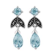 Orecchini di lusso blu argento sterling topazio