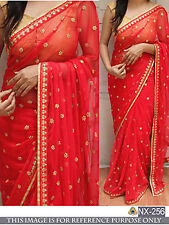 Beautiful  Designer Party Wear Red Color Georgette Fabric Thread Work Saree