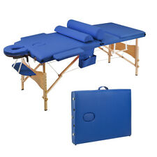 3 Sections Folding Portable Beauty Massage Table Set 70Cm Wide Blue