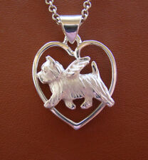Sterling Silver Norwich Terrier Angel On A Heart Pendant