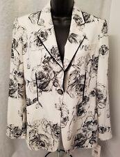 Harve Benard NWT Womens White Black Floral One Button Lined Blazer Coat Size 8