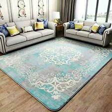 Affordable Flannel Blanket Non Skid Scroll Abstract Design Blue Area Rug 7'x8'