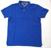Tommy Hilfiger Slim Fit Poloshirt Polohemd Herren Gr.XL blau uni Piquè -S1030