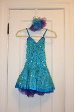 Weissman Child Large Figure Ice Skating Dress Sequins and Hair Clip