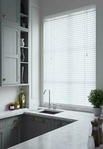 Venetian Blinds White Faux Wood 50mm - Smooth or Wood grain - Made to Measure