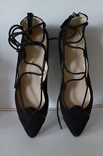 Nine West Lace Up Flats Sabik Black Pointed Toe Ballet Women Size 8 NEW $79