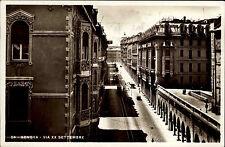 Genova Genua alte Ansichtskarte 1933 Via XX Settembre Straßenpartie Straßenbahn