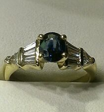 Estate $5000 natural blue sapphire and genuine diamond 14kt. gold wedding ring