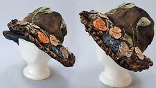 Antique 1920s Lame Metal Thread Ribbonwork Fahnley Hat Bicorn Cloche Vintage 20s