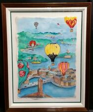 Linnea Pergola Original Watercolor and Ink on Paper 'Balloons Over Stockholm'