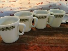 """Vintage Pyrex set of 4 Spring Blossom / Crazy Daisy """"D"""" Handle Coffee Cups/Mugs"""