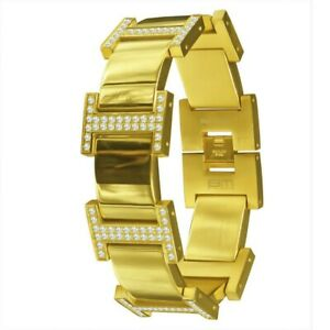 """Men's Icy Custom White Cz 14K Yellow Gold Over Stainless Steel """"Tidal"""" Bracelet"""