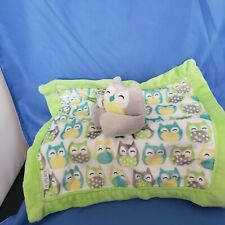 Carters Security Blanket Owl Baby Plush Toy Green Grey White Blue Yellow Love