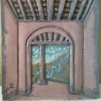 "Vintage 3 Dimensional Colorful 11 1/2 "" x 9 "" Signed Art Tile"