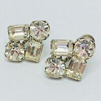 Vintage Rhinestone Earrings Screw Back Emerald Round Cut Crystal
