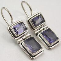 """Iolite 6.2 tcw Dangle Earrings 1.1"""" Sterling Silver Wedding Jewelry"""