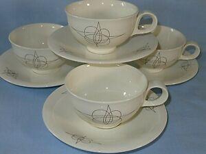 1950s Hallcraft Mid Century Modern MCM Eva Zeisel FANTASY Cup & Saucers (4 Sets)
