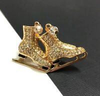 SWAROVSKI Swan Logo Signed Pave Crystal ICE SKATES Brooch Pin 18K GP WW176o
