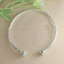 10 Pc. Lot 925 Sterling Silver Bracelet Bangle Womens Adjustable Twist D405G
