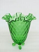 Fenton Springtime Diamond Optic Green Glass Ruffled Rim Three Footed Vase 813B