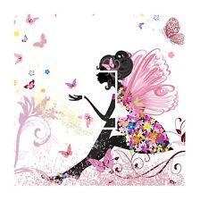 Beautiful Pink Fairy Princess & Butterfly Light Switch Vinyl Sticker Cover Skin