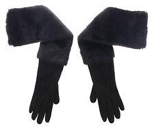 NWT $2640 DOLCE & GABBANA Black Mink Fur Lambskin Suede Leather Gloves s. 7 / S