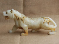 """11"""" China Old gilt White Jade hand Carved large lucky Zodiac tiger statue"""