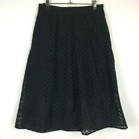 Portmans Signature Womens Black Lined Lace Look Skirt with Back Zipper Size 10