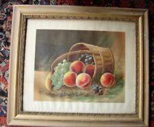 Victorian Gesso Framed Lithograph Print 1894 LeRoy Still Life Fruit in Basket