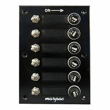 "Marpac Black Switch Panel 6 Gang 4-1/4"" W x 6-1/2"" H 15 Amps #8 Fasteners MD"