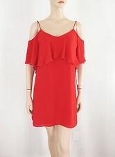 AQUA Cold Shoulder Dress in Red M $98 9610 BM13