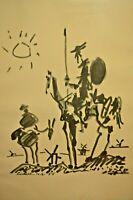 Vintage PABLO PICASSO Don Quixote Sancho Panza De Mancha Ink Lithograph Print