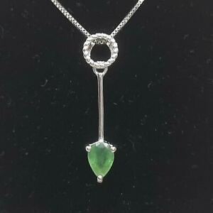 Genuine .80ctw Columbian Emerald & Diamond Cut White Sapphire 925 Silver Pendant