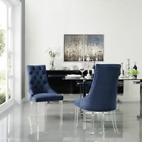 Armless Upholstered Dining Chair Set 2 Modern Velvet Linen PU Leather Fabric